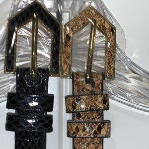 2 NWOT Lauren Ralph Lauren Lizard Leather Belts-L